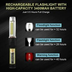 USB Rechargeable SOS LED Flashlight with Magnetic Base amp; Hook $15.98