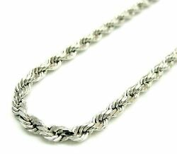 Solid 925 Sterling Silver Italian Rope Chain Mens Necklace 3.50mm Diamond Cut $46.54