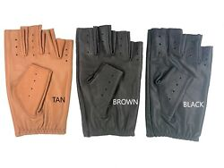 MEN#x27;S HALF FINGER CHAUFFEUR REAL LAMBSKIN NAPPA LEATHER DRIVING GLOVES $14.00