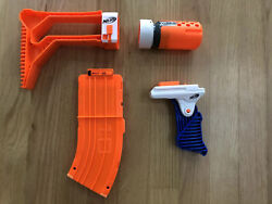 NERF Elite Attachments Stock Barrel Extension 10 Round Mag And Handle $17.99