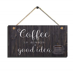 Wood Coffee Sign Coffee Kitchen Wall Hanging Sign Wall Art $16.99