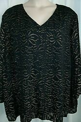 Catherines Plus 5x 34 36W Black Gold Floral Shimmer Blouse Top NEW With Tags $24.99