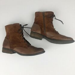 Born Clements Womens Boots Size 9 Brown Rust Leather Lace Up Side Zip EUC $69.99