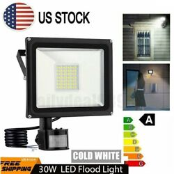 US 30W PIR Motion Sensor LED Flood Light Outdoor Waterproof Lights Security Lamp $27.89