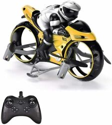 RC 2 in 1 Flying Motorcycle Quadcopter Flight Land Dual Mode 2.4GHz RC Yellow $33.99