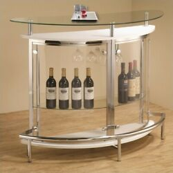 Coaster Contemporary Home Bar Unit with Clear Acrylic Front in White $269.60