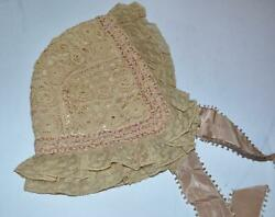 Victorian Antique Lace bonnet SILK LINED $24.00