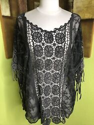 Vocal Brand Womens Crochet Top Solid Gray Lace Boho Hippie Tunic L $12.00