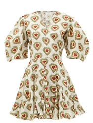 NWOT RHODE #x27;Rosie#x27; Heart Print Puff Sleeve Cotton Dress Size L $89.00