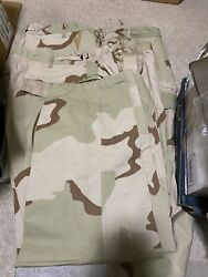 US. MILITARY ISSUEDESERT CAMOUFLAGE PANTSTROUSERSLARGE SHORT WITH STAINSNEW $22.00
