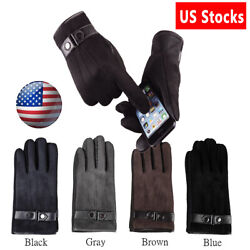 Men Winter Warm Thermal Touch Screen Leather Gloves Driving Windproof Gloves US $8.39