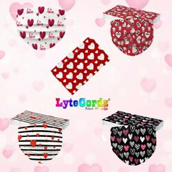 Face Mask Valentine#x27;s Day Heart Disposable Surgical 3 Ply Adult Size $15.99