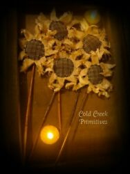 Handmade Primitive Sunflowers Spring Decor Rustic Country Decor Set of 5 $14.00
