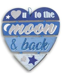 Love You To The Moon amp; Back Blue Heart Hanging Door Sign Valentines Baby Nursery $12.95