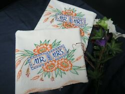 Mr and Mrs Vintage Pillowcases Hand Embroidery w Striking Colors $9.99