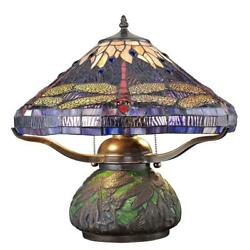 tiffany dragonfly 14 in. bronze table lamp with mosaic base stained glass desk $147.08