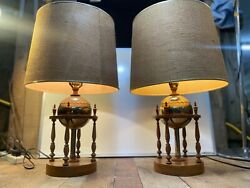 Vintage Mid Century Modern Pair Of wood and Brass Table Lamps spheres $120.00