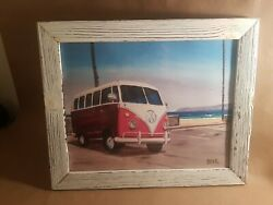 VW Bus Classic Decor Framed PaintIng Volkswagen 16.5×14inch $19.95