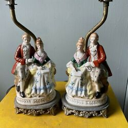 Vintage Lamp Pair Camp;S NY Colonial Couple Porcelain Lamp Victorian Figural Lamps $79.99
