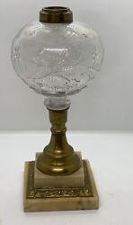 ANTIQUE VICTORIAN OIL LAMP BASE BRASS MARBLE 12quot; Tall $75.00