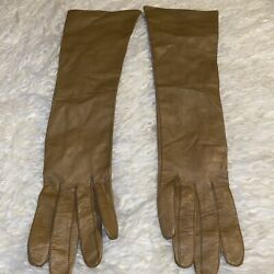 Vintage Real Kid Size 7 Made in France Tan Leather Opera Gloves $28.00