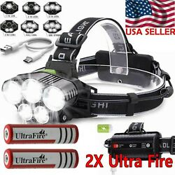 250000LM 5X T6 LED Headlamp Rechargeable Head Light Flashlight Torch Lamp USA $12.95
