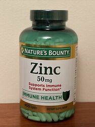 Nature#x27;s Bounty Zinc Gluconate 50mg 400 Caplet Immune System Support Exp 11 24 $18.48