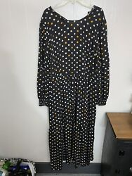 Who What Wear L Black Maxi Dress Long Sleeve Polka Dot NWT Lined $24.99