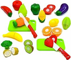 Little Treasures Fruit and Vegetables Play Kitchen Food for Pretend Cutting Food $5.99