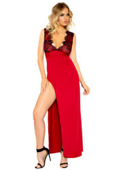 Roma black red maxi length high slit gown $59.99