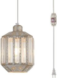 New 16.4quot; Hanging Lamps Crystal White Swag Lamp Rustic Pendant Light Plug $59.99