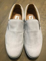 FOOTJOY Mens Canvas Loafer Spikeless Golf Shoes Cork Insole 9.5 W Slip On EUC $41.00