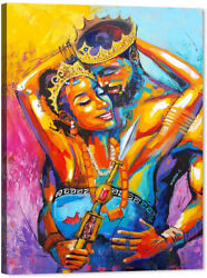 African American Lovers Couple Wall Art Painting Canvas $17.57