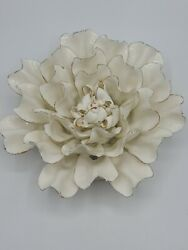 Vivaterra Ceramic Wall Flowers 6quot; Diameter White and Gold $24.99