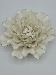 Vivaterra Ceramic Wall Flowers 10quot; Diameter White and Gold $29.99