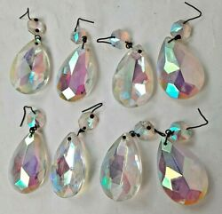 Lot of 8 Vintage Teardrop Clear Crystal Prisms Glass Lamp and Chandelier Decor $24.99