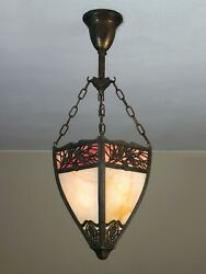 OUTSTANDING Antique Slag Glass Light Fixture with Pine Needle Design Tiffany $850.00