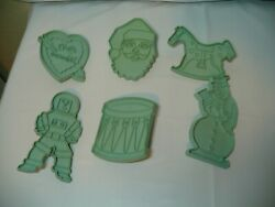 VINTAGE STANLEY HOME AQUA PLASTIC COOKIE CUTTERS LOT 6 CHIRSTMASamp;VARIETY HOLIDAY $9.99
