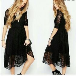 Free People Sz 4 Mountain Laurel Dress Midi Floral Lace Boho Black V Neck $24.00