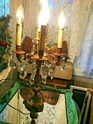 FRENCH STYLE VINTAGE TABLE CHANDELIER WITH CRYSTAL PRISMS $129.95