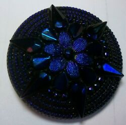 black glass button with iridescent blue purple star large BEAUTIFUL $6.97