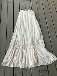 Denim amp; Supply Ralph Lauren Women Medium Embroidered Lace Boho Ivory Maxi Dress $32.00