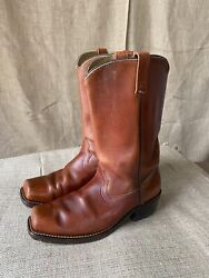 SEARS Boots 10.5D Mens Leather CAMPUS Motorcycle Brown Vintage Biker Boots USA $49.22