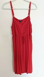 Torrid Women's Red Button Front Drawstring Sun Dress Tunic Size 2 Rayon Pockets $19.99