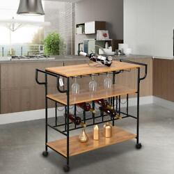 Kitchen Home Serving Carts Rolling Bar Wine Glass Holder 3 Tier Storage Shelves $84.99