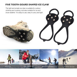 5 Spikes Ice Crampons Winter Snow Boot Shoes Ice Gripper Anti skid Ice Spikes $7.51