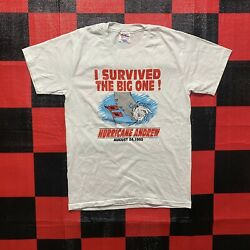 """Vintage Hurricane Andrew 1992 single stitch T Shirt """"I survived the big one"""" M $25.99"""