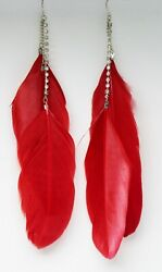 New Long Red Feather Earrings with Rhinestone Strand #E1181RED $5.49