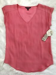 Express Coral V Neck Satin Cap Sleeve Blouse Top Small With Bracelet Cuff $9.72