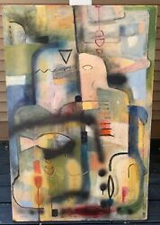 Large Vintage Abstract Oil Painting Mid Century Modern Art Wall Hanging Signed $395.00